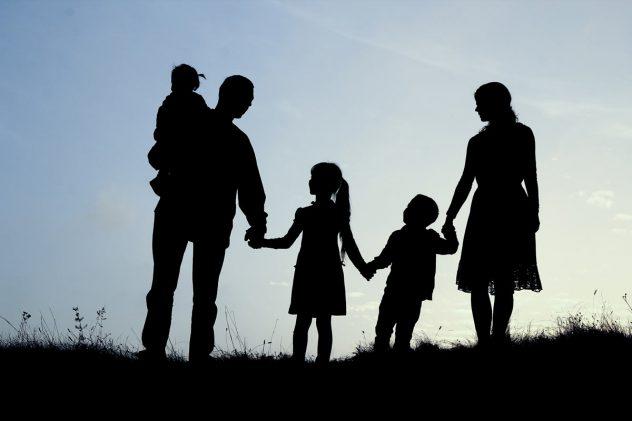 Familie steht auf einer Wiese